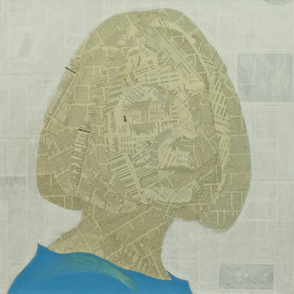 Jill Abramson, Acrylic, gesso and collage material from The New York Times on canvas 30 x 30 inches 2014