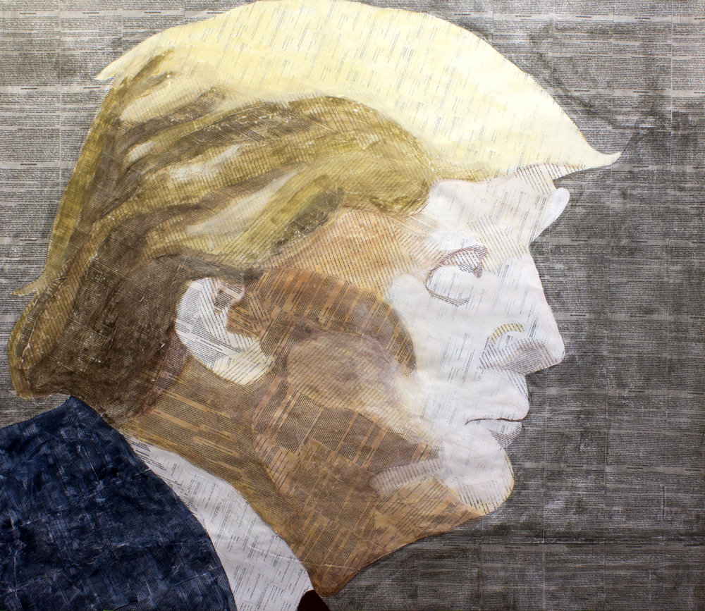 Trump Bankruptcy Collage, Collage material from In Re: Trump Entertainment Resorts, Inc, et al., Bankruptcy Case No. 14-12103, acrylic, gesso, pencil and charcoal on paper, 62 x 72 inches, 2015