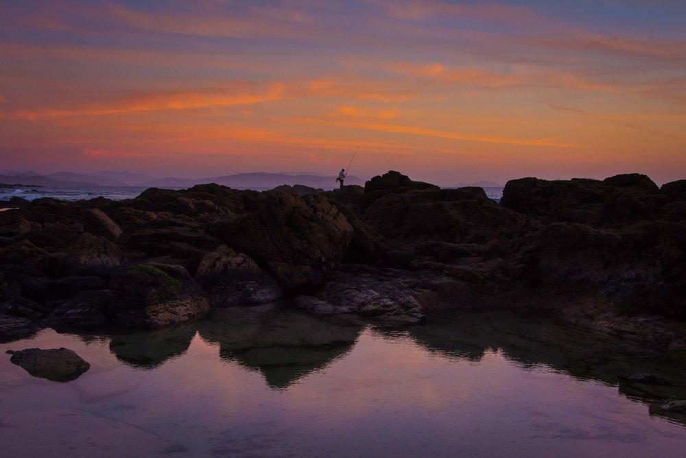 Atardecer en playa Pragueira, Galicia