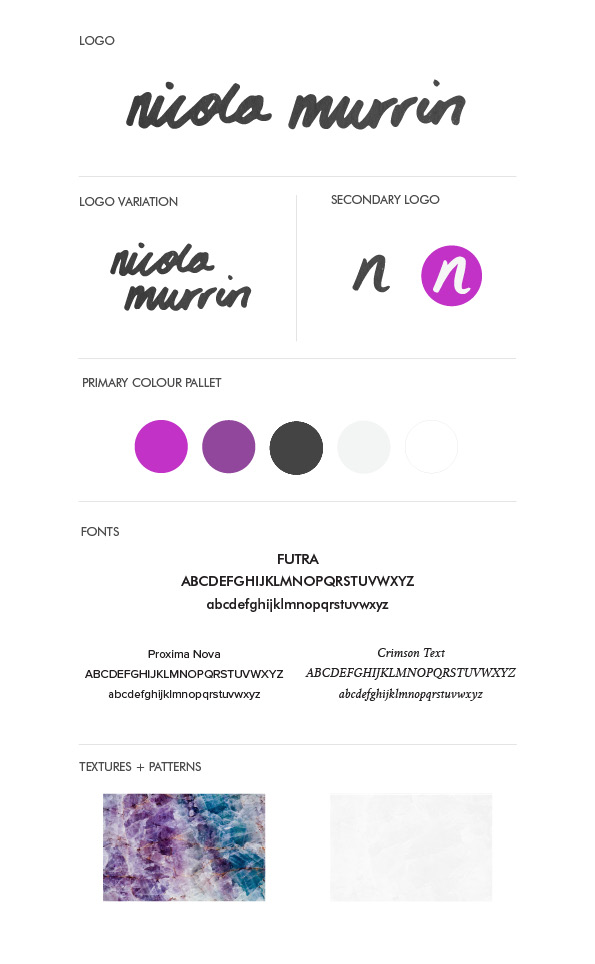 Nicola Murrin Branding Style Sheet | Blogger | Graphic Design