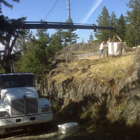 An oldie but a goodie... brand new emergency generator on top of #mtbruce #saltspring #saltspringisland  #gulfislands
