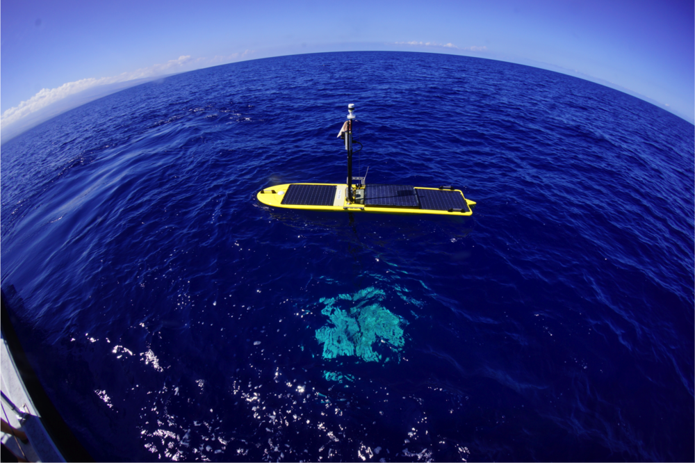A Wave Glider float. This contains scientific instruments and solar panels to power the instruments.