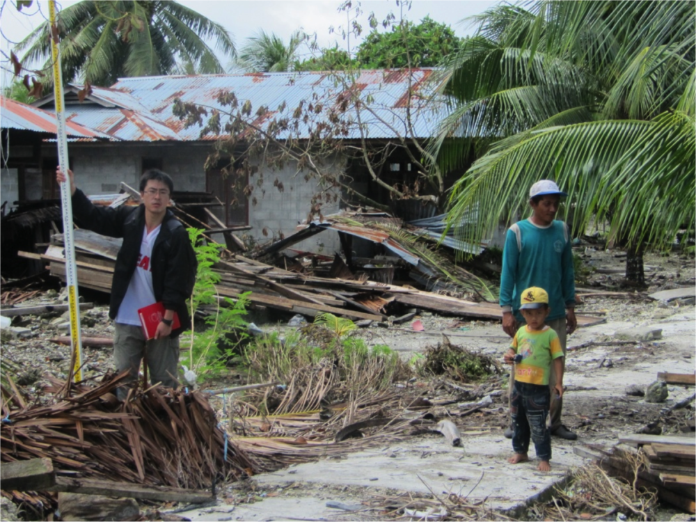 Qiu Qiang  helping with a tsunami field survey following the 2010 Mentawai earthquake