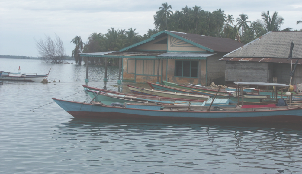 Flooded houses in the Banyak Islands, offshore Sumatra, following the 2005 Nias-Simeulue earthquake.  Photo credit: Aron Meltzner