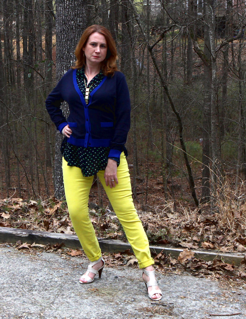 cabi Spring 2016 clothes :   Michelle Cardigan  ,  Martini Top ,  Citron Curvy Skinny  (also available in  regular fit ),  Dolce Charm Earrings ,  and the  Lagoon Necklace  (on backwards). Shoes are the  Unisa Eavvi Sandal  (at DSW).