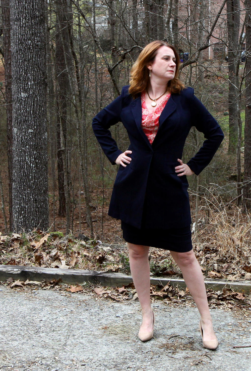 Lido Skirt ,  Lido Jacket ,  Vita Blouse ,  Locket Necklace ,  Dolce Charm Earrings , and older neutral suede pumps.