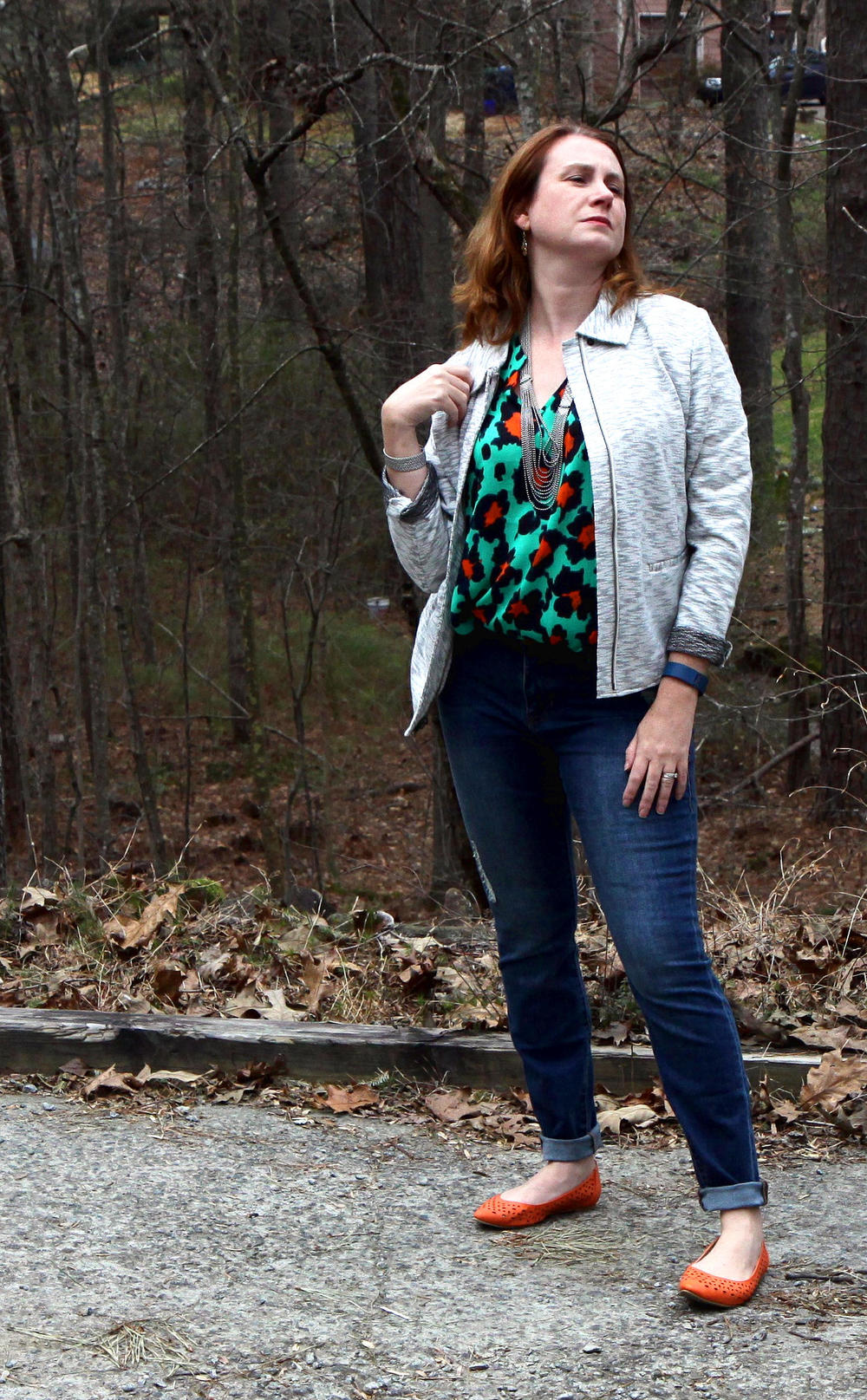 Outfit:  Neo Jacket , Destructed Skinny in  Regular  or  Curvy ,  Rita Top ,  Dolce Charm Earrings , and  Villa Necklace  (worn as a necklace and bracelet) from  cabi Spring 2016 . Shoes are the  Restricted Newport Flat  from DSW.