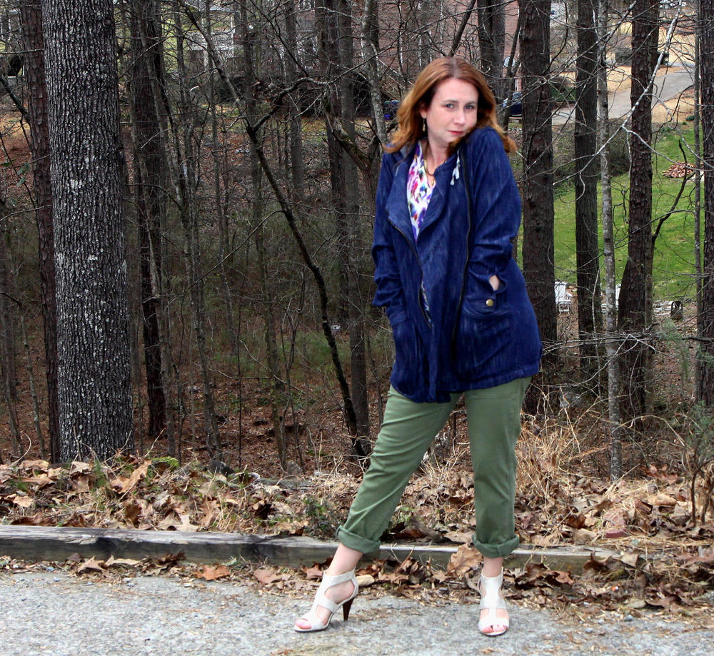 Outfit:  Adventure Anorak ,  Traveler Pant ,  Plume Top ,  Locket Necklace , and  Dolce Charm Earrings  from cabi Spring 2016, along with the  Unisa Eavvi Sandal  sold at DSW.                     Normal   0           false   false   false     EN-US   X-NONE   X-NONE