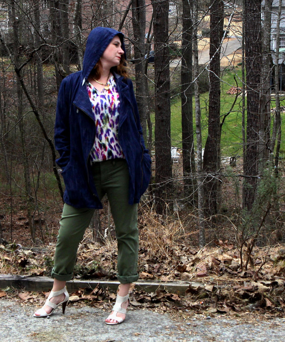 Outfit:  Adventure Anorak ,  Traveler Pant ,  Plume Top ,  Locket Necklace , and  Dolce Charm Earrings  from cabi Spring 2016, along with the  Unisa Eavvi Sandal  sold at DSW.