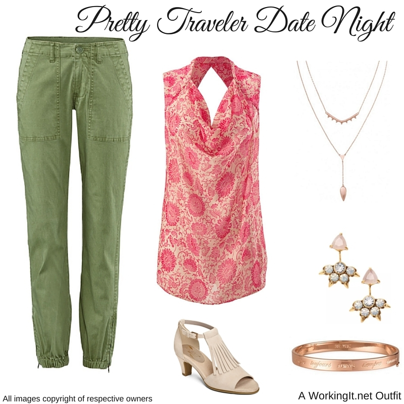 """Outfit:  Traveler Pant  and  Vita Blouse  from cabi Spring 2016.  Eva Ear Jacket  earrings, """" Always"""" Inspiration Bangle , and  Tiered Lariat Necklac  e  by Stella & Dot.  Wingback  heels by Aerosoles."""
