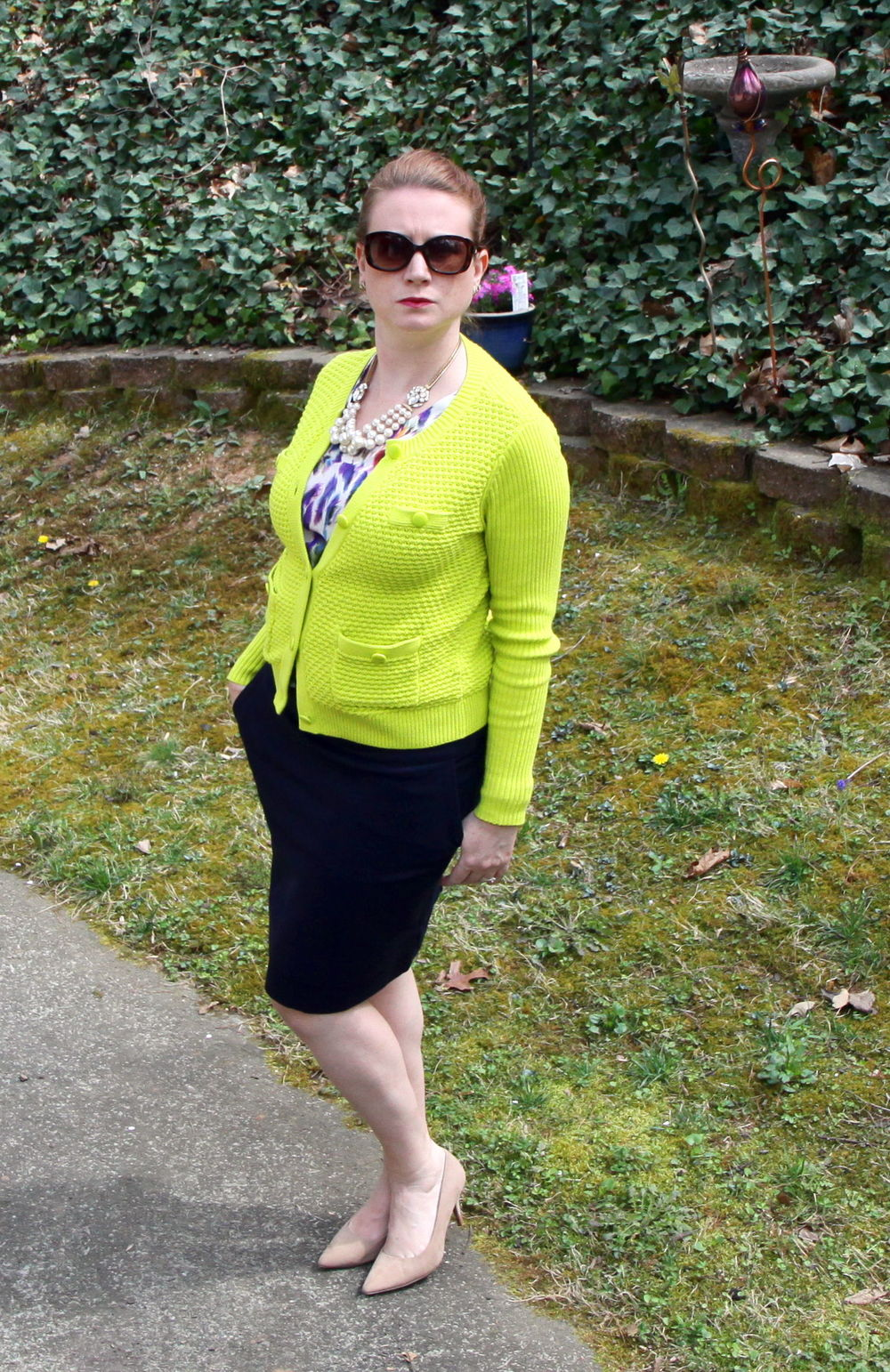Outfit:   Plume Top ,  Lido Skirt , and  Loren Sweater  from cabi Spring 2016. Contessa Necklace and Vintage Studs from cabi Fall 2014. Suede  Target  shoes from a previous season and current season sunglasses from  target .