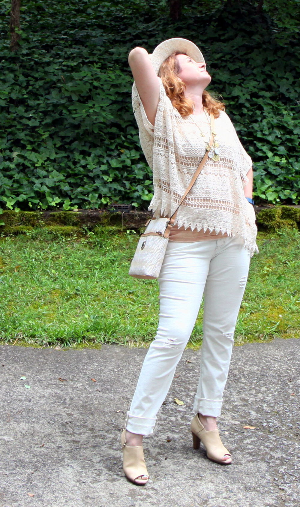 Outfit:  Destructed Slim Boyfriend  jeans,  Capri Top , and  Simple Cami  from cabi Spring 2016. Shady Hat from cabi Spring 2014. Coin Necklace from cabi Fall 2014.   Giani Bernini Diamond Woven Crossbody  handbag from Macy's.  Bird Cage  shooties by Aerosoles.