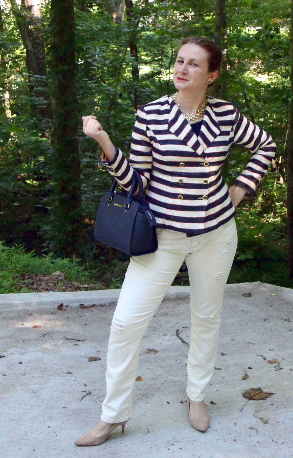 The red here is very subtle--in the stripes. I could also add a red shoe for added fun.  Outfit:  CRUISE JACKET  ,   Destructed Slim Boyfriend    jeans from cabi Spring 2016, Fifth Avenue Tee past season cabi, Older Target shoes, Michael Kors,  Selma Medium Satchel,  Stella & Dot necklace, Sloan Ranger Knot Earrings.