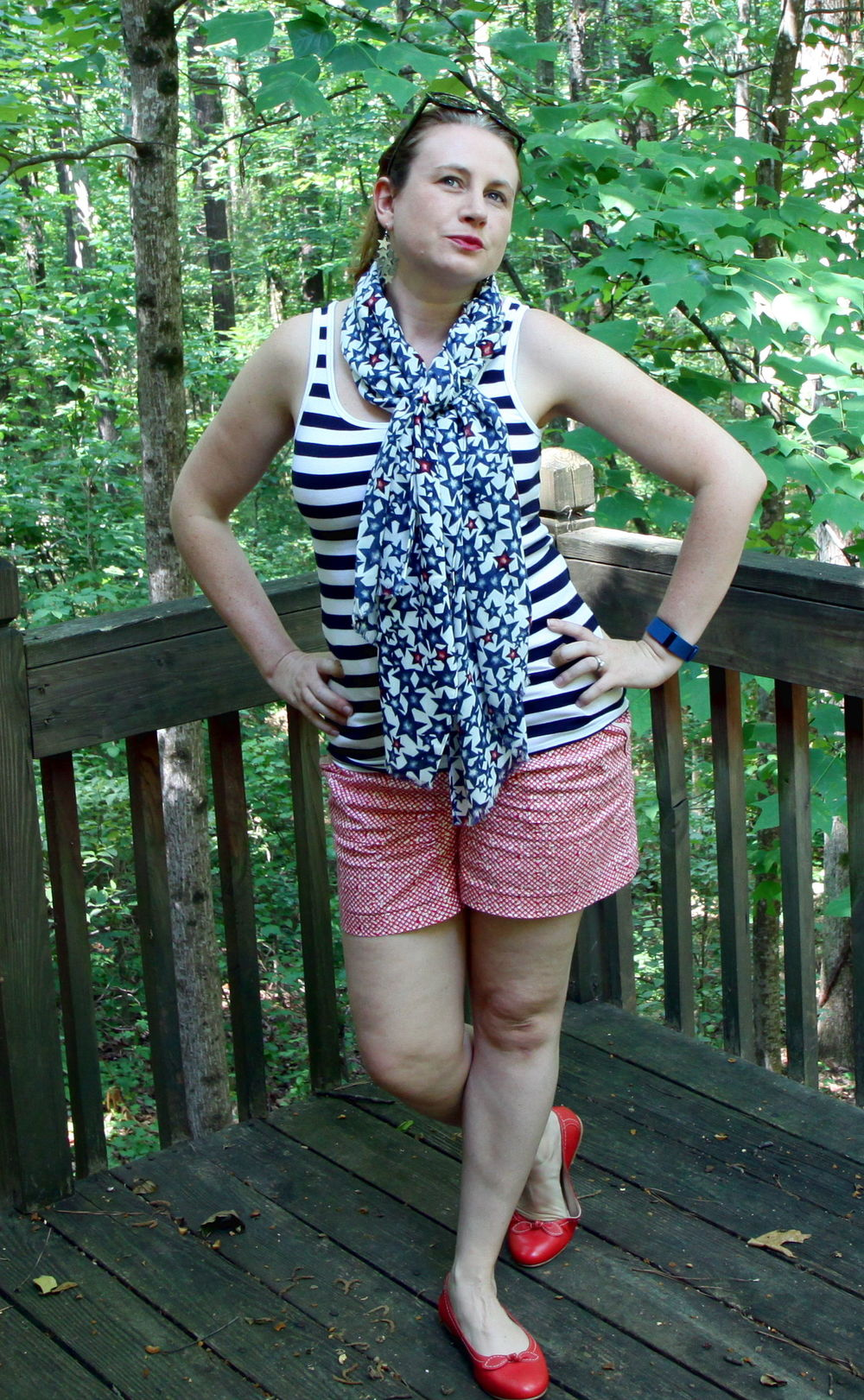 Three prints, including a star print and stripe print. Outfit:  Striped Favorite Tank, Picnic Short,   Star Print Scarf , and the  Bow Ballet Flats