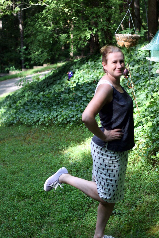 Stitch Fix : Leena Printed Skirt by Renee C, Visperas Crochet Back Top by Skies are Blue, SeaVees sneakers.