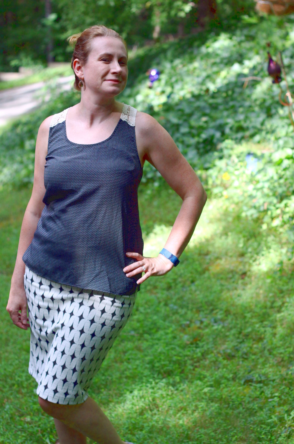 Visperas Crochet Back Top,   Leena Printed Skirt, Monterey Lace-up Sneakers all from my Stitch Fix, along with older  Stella & Dot  earrings.