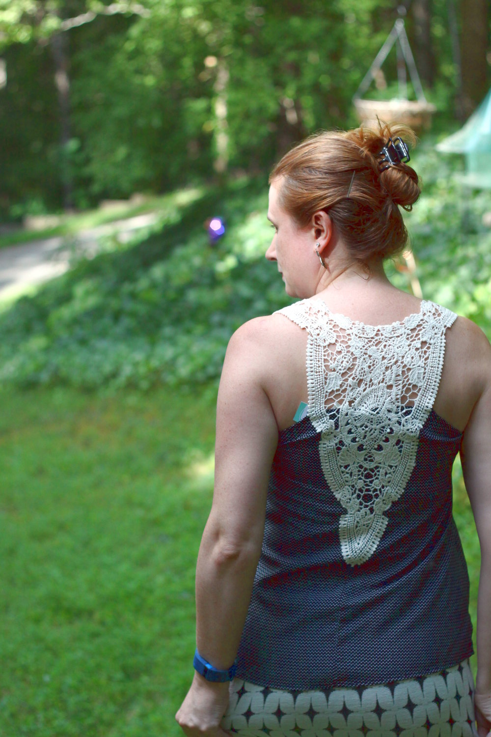 Visperas Crochet Back Top (back) and   Leena Printed Skirt from my Stitch Fix, along with older  Stella & Dot  earrings.