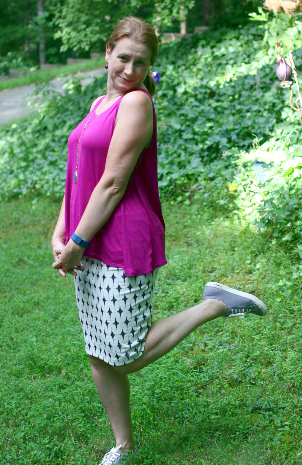 Leena Printed Skirt and Monterey Lace-up Sneakers all from my Stitch Fix, along with older  Stella & Dot  earrings, the  cabi Spring 2016  Sleeveless Swing Tee, and  Pendant Necklace with Teardrop Stone  from Target.