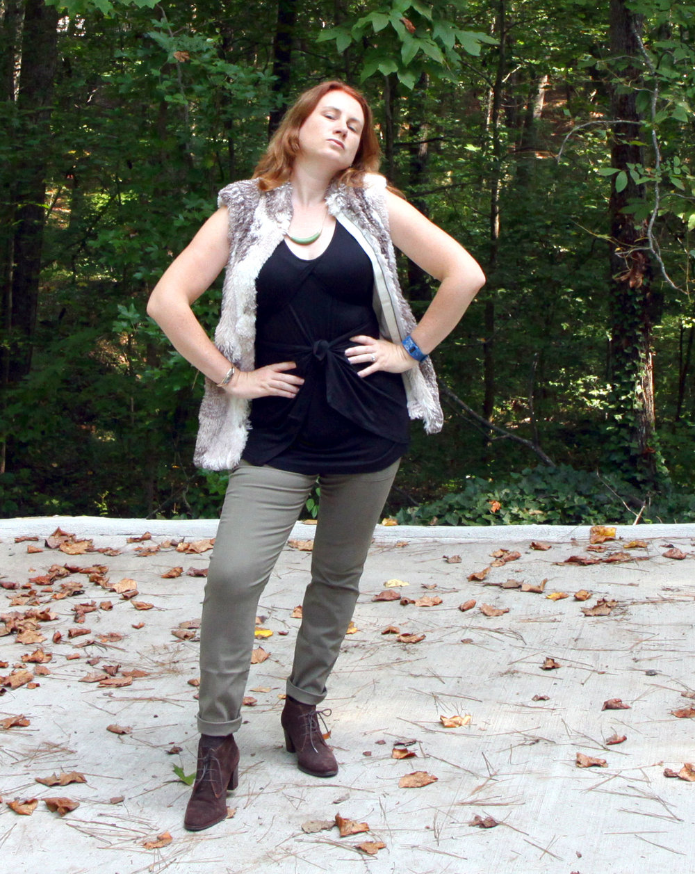 Beyond Tee ,  Scout Pants ,  Jasper Crescent Necklace ,  and the  Aspen Vest  from cabi Fall 2016. Mindy Cuff from  Cents of Style . Older  L.L. Bean Signature   Collection  booties.