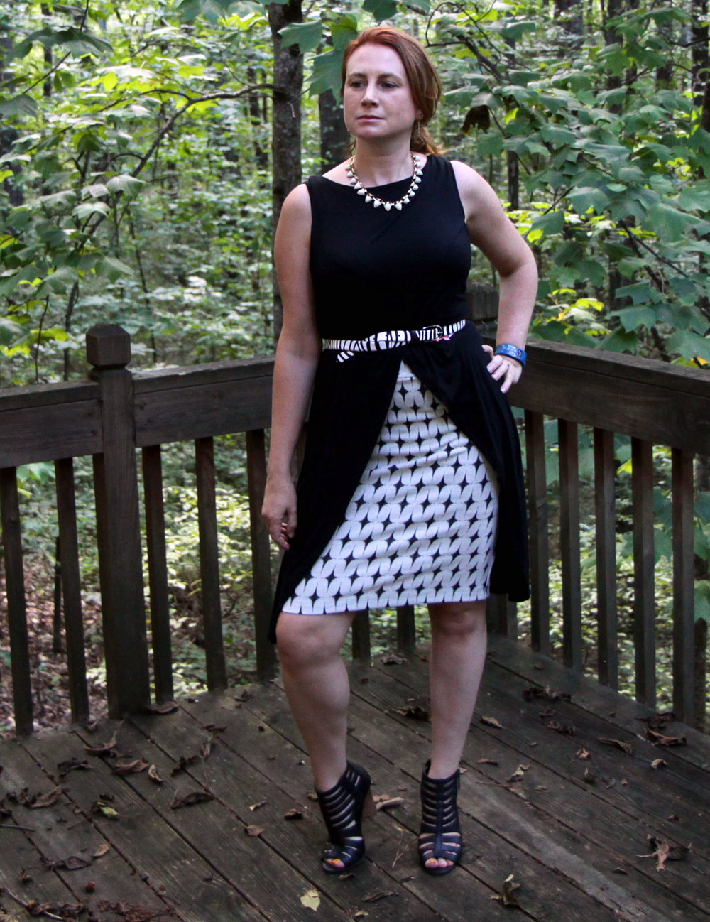 Beyond Tee  and  Zebra Belt  from cabi Fall 2016. White Stone Sutton Necklace from  Stella & Dot .   Acme Bootie    by Crown Vintage sold at DSW.   Stitch Fix Leena Printed Skirt  by Renee C.