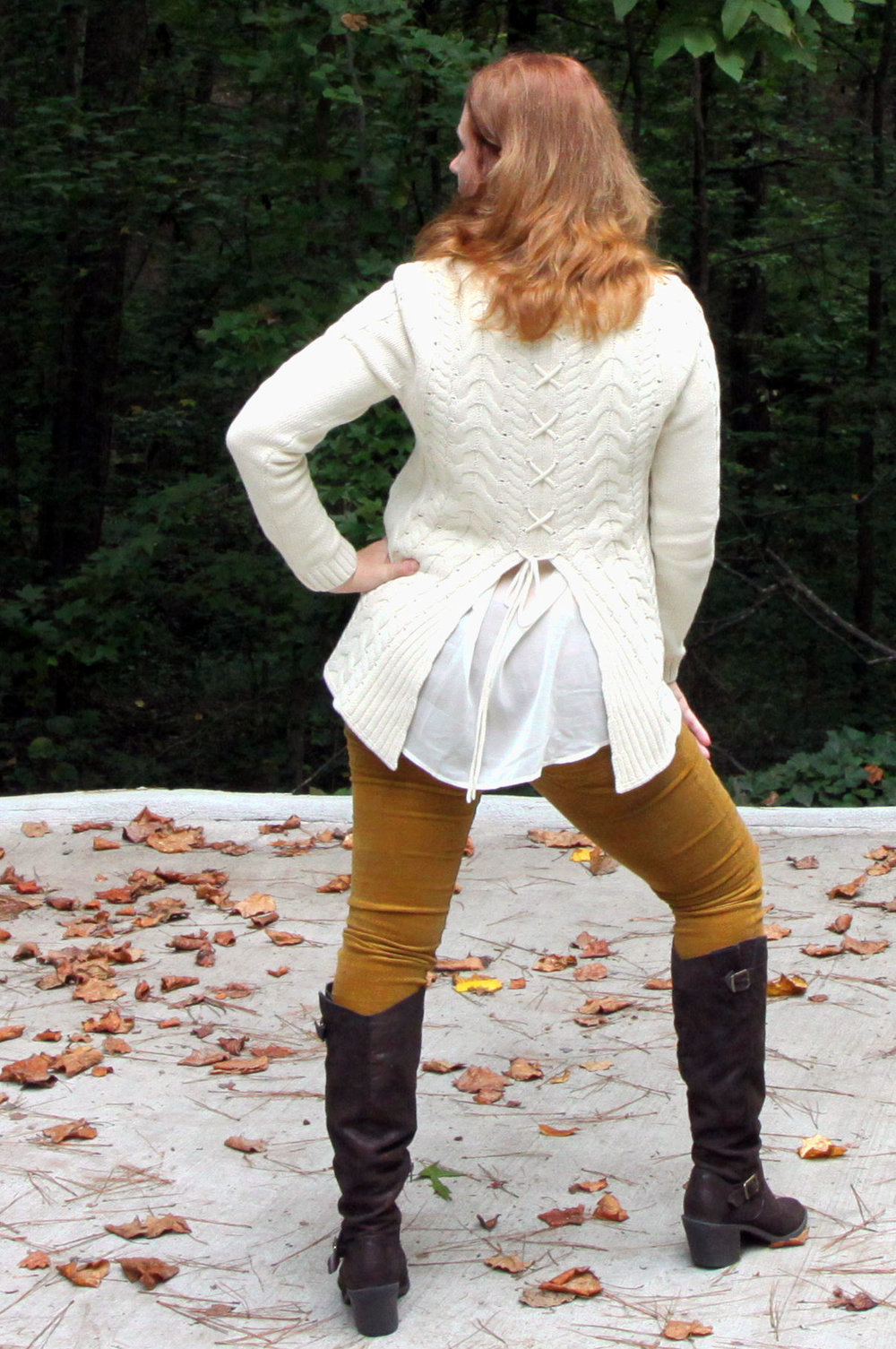 Lace-up Sweater from the back, and the Duchess Scarf, & Skinny Cord