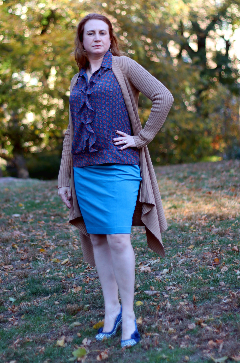 Sigourney Skirt, Sweetheart Sweater, and the Medallion Reign Blouse