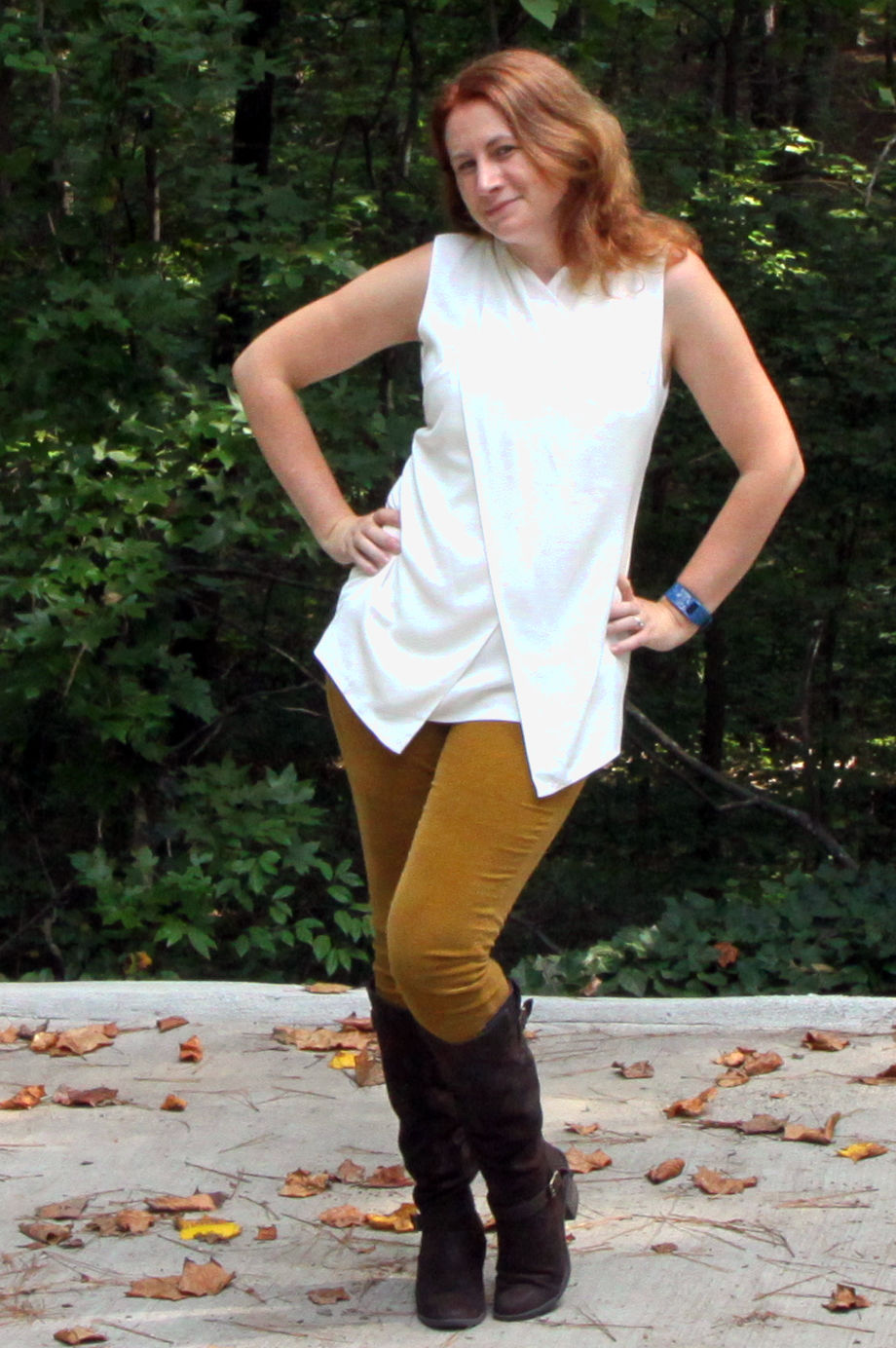 Reversible Wrap Sweater, Wraparound Top, and Skinny Cord