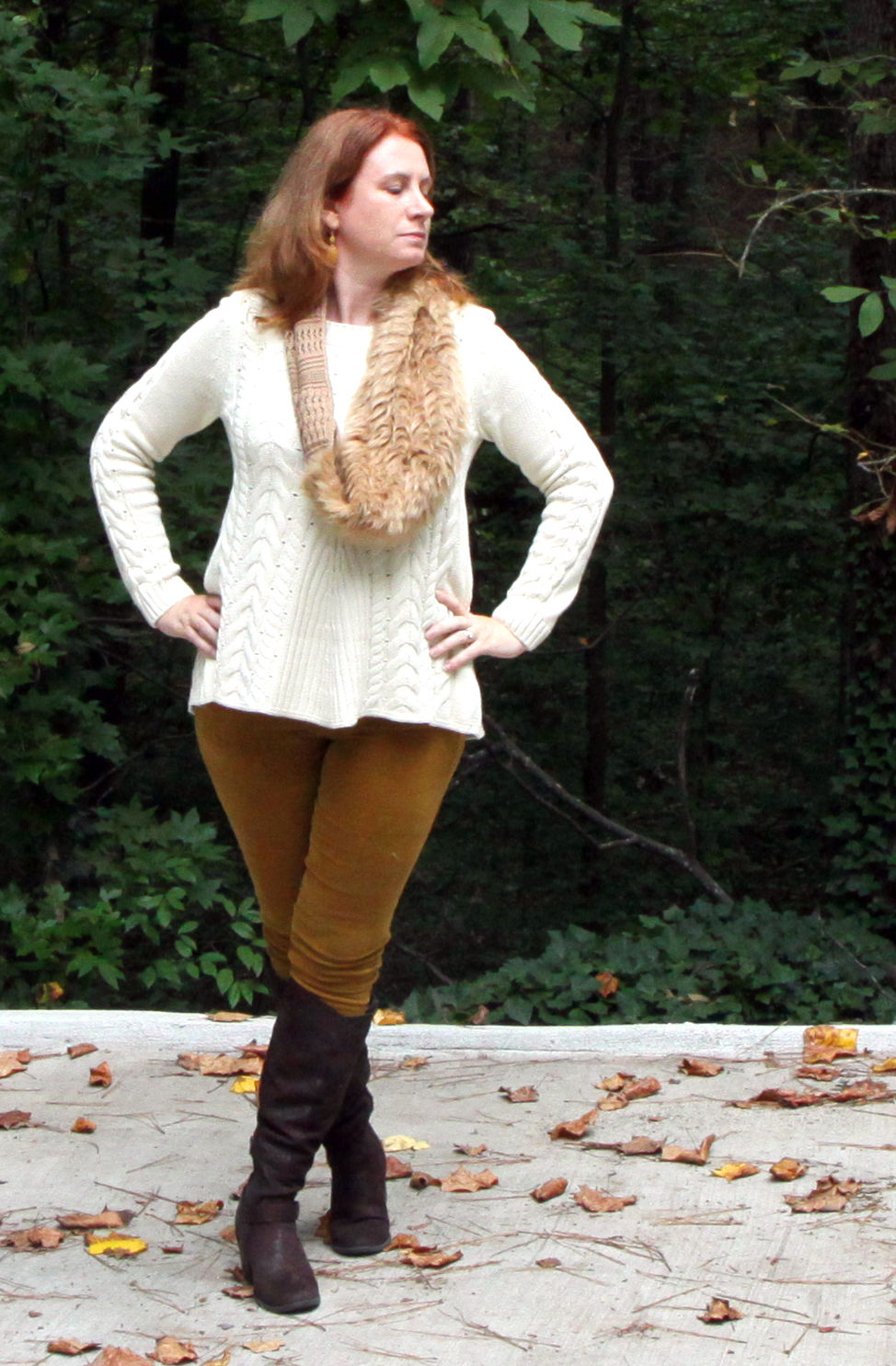 Lace-up Sweater, Duchess Scarf, & Skinny Cord