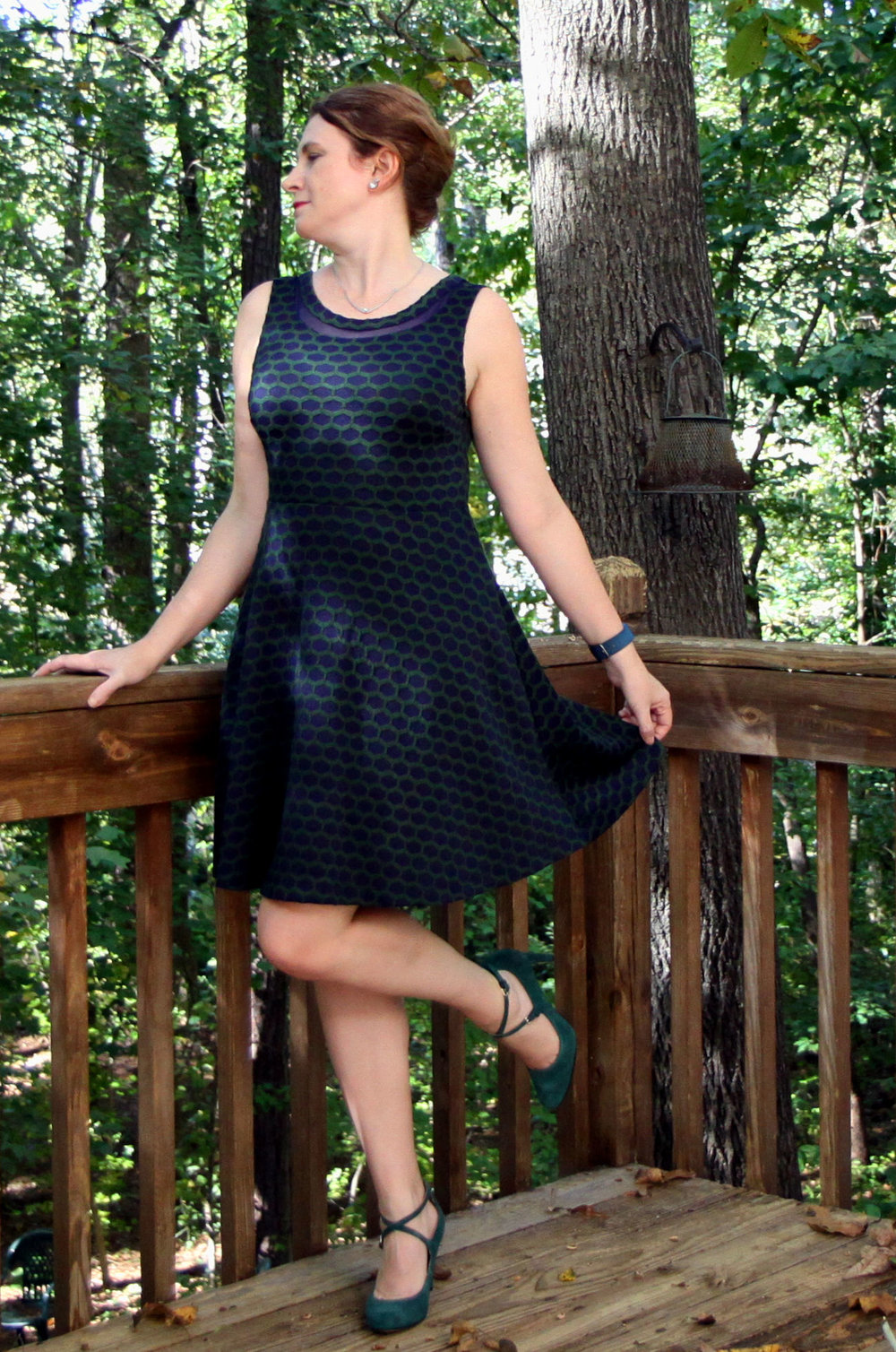 Look at these shoes! And the cute dress! Sadly, I've only worn this outfit once, besides the photo shoot! I have only worn this dress for this photo shoot! Millie textured Knit Dress by Pixley with Hannley Mary Jane Strappy Pump by Nine West, both from Stitch Fix.