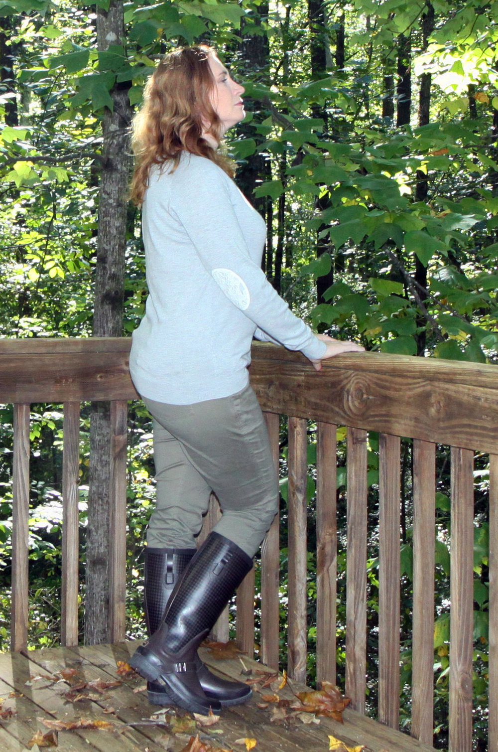 This outfit is a good example of my new style. But, I have only worn the sweater once besides this photo shoot! Fierro Elbow Patch Crew Neck Sweater by Brixon Ivy from Stitch Fix. The Scout pant from cabi. Wellie Rain Boots from L.L. Bean.