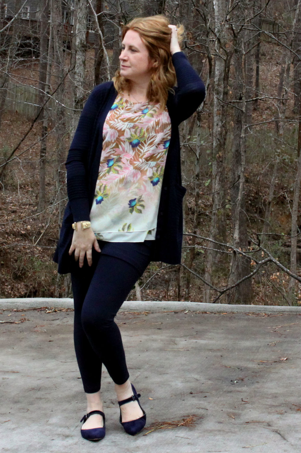 Outfit:  M'Leggings,   Classic Cardigan ,  Parlor Top,   Sea Knot Necklace , and the  Seahorse Cuff  from cabi Spring 2017, with  Pointed Mary Jane Velvet Flats  from Canvas by Lands' End.