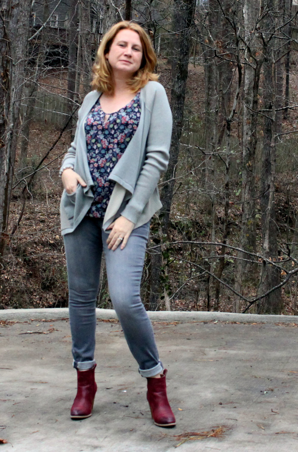 Pocket Cardigan ,  Flirt Cami , and  Zip Skinny  from cabi Spring 2017 with the  Tarynn  bootie from JustFab and the  Eve Gray Agate Stretch Bracelet    by eSBe .