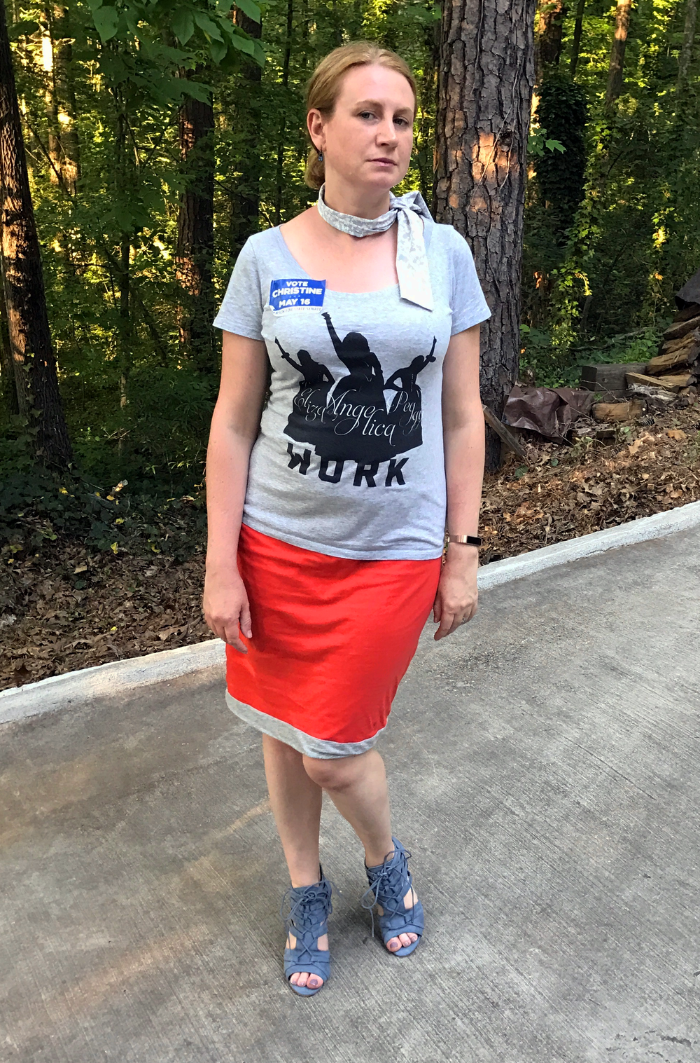 Target scarf, Hamilton Tee shirt (from NYC show), cabi reversible skirt (older),  Nedala sandal  from JustFab.