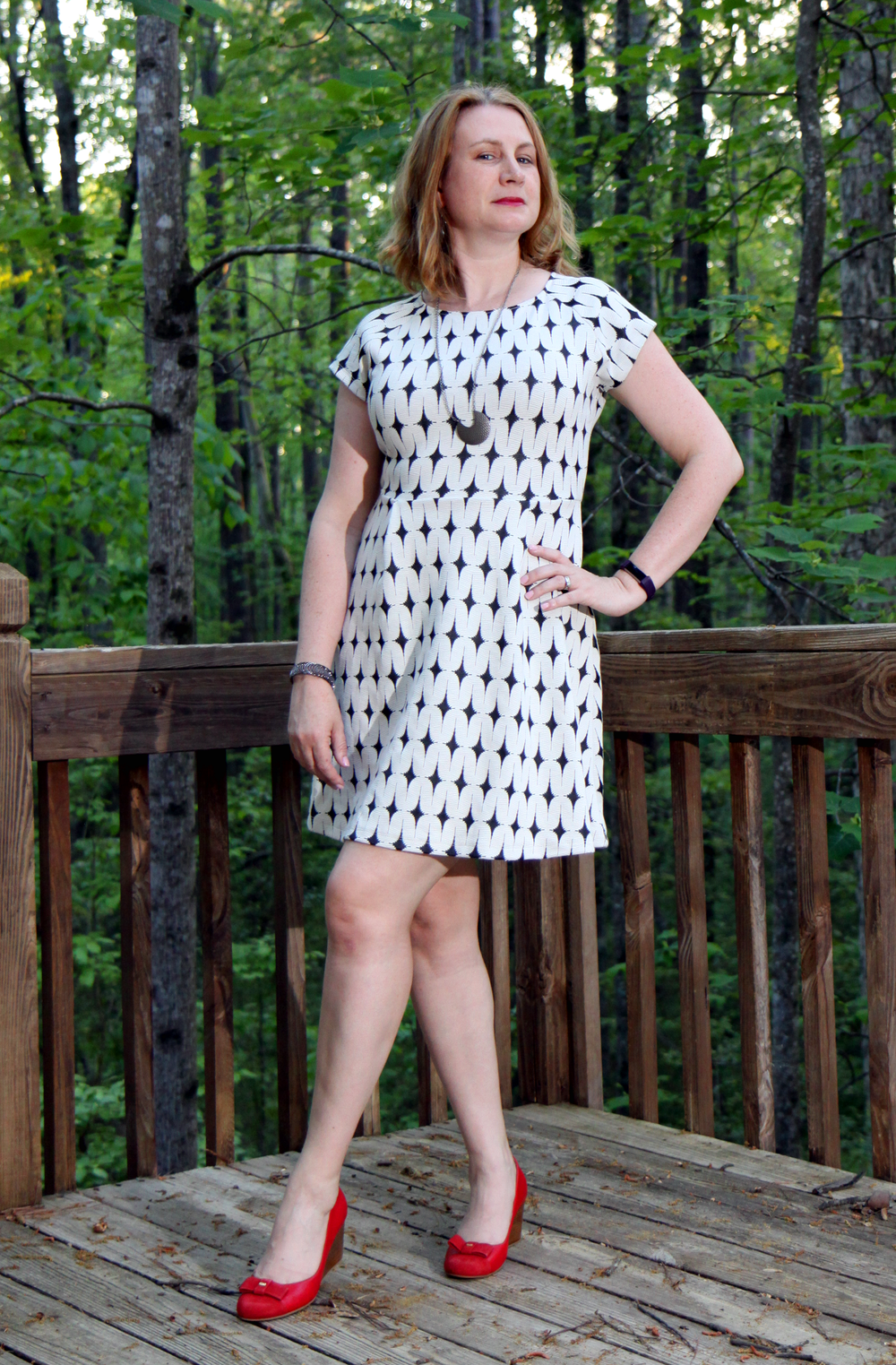 More casual? Maybe not yet... Renee C Addae Knit Dress and Cole Haan Adair Bow Cap Toe Wedge shoes, both from Stitch Fix    (use  my referral link for$25 of your first Fix )