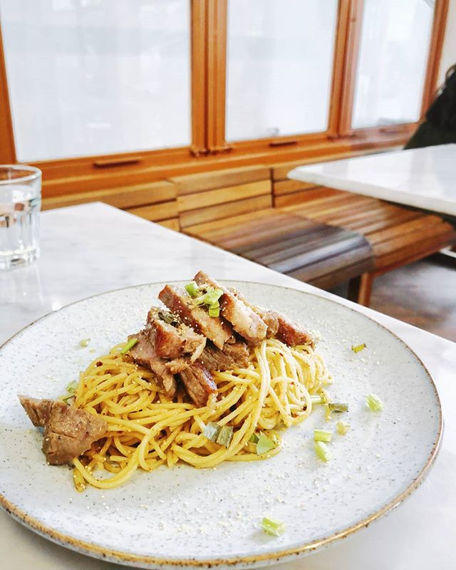 If you like pasta but prefer Asian taste, you might like this Moo Nam Tok at @bluedyecafe, made with Thai spices and Thai style grilled pork strips.  #cafehoppingbkk #cafebkk #cafehopping #bangkokcafe
