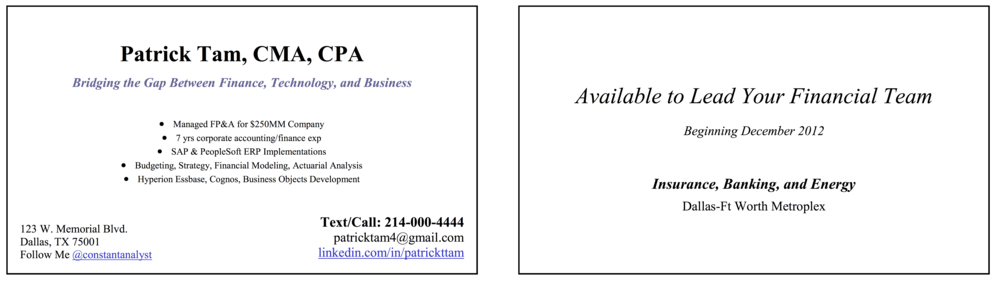 Make a business card to help your job search the constant analyst make your name clear and obvious listing your designations make sure you include in your name any professional designations or certifications you have reheart Choice Image