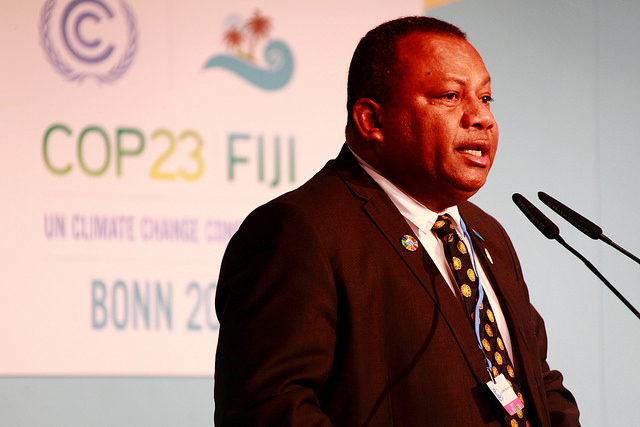 Fiji's Global Climate Champion, Minister Inia Seruiratu, speaking at the Resilience Day