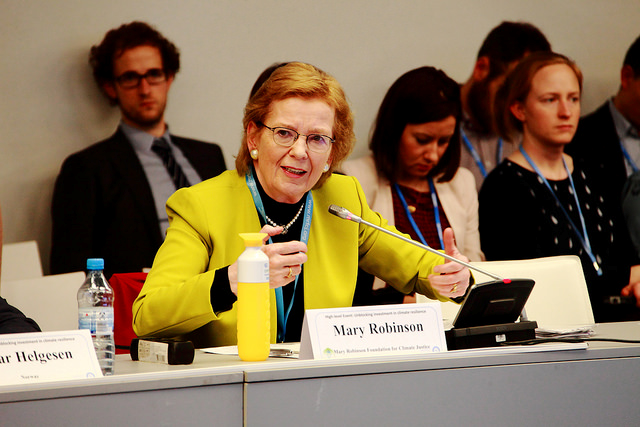 Mary Robinson, President of the Mary Robinson Foundation for Climate Justice, challenging the participants of the investment roundtable to take ambitious action