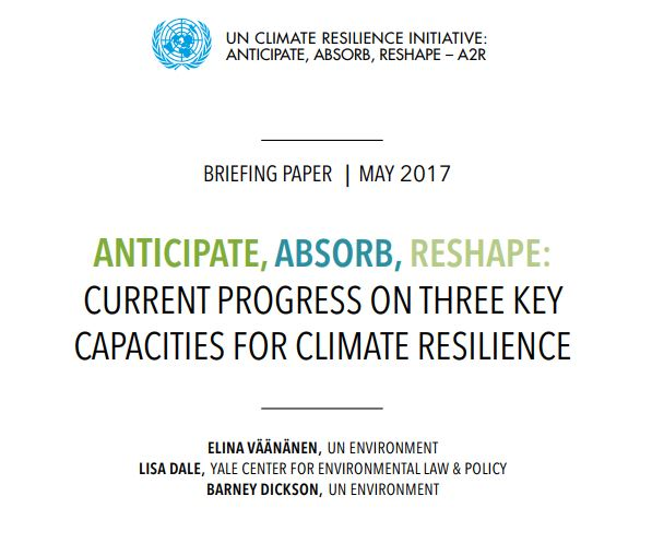 Anticipate, Absorb, Reshape: Current progress on three key capacities for climate resilience  - The UN Climate Resilience Initiative A2R - Anticipate, Absorb, Reshape promotes the strengthening of three key capacities for climate resilience: the capacity to anticipate and act on climate hazards through early warning and early action; the capacity to absorb shocks by increasing access to climate risk insurance and social protection; and the capacity to reshape development pathways by transforming economies to reduce risks and root causes of vulnerabilities and support the sound management of physical infrastructure and ecosystems. This briefing paper presents the key findings of a baseline analysis of progress of these three climate resilience capacities. The analysis reviewed the data available for 114 developing countries and represents one of the first contributions towards a global understanding of the current state of play on climate resilience.  The briefing paper also discusses the challenges –both conceptual and data-related –that this type of assessment faces and suggests ways of overcoming them. This paper aims to contribute to the broader discussion on metrics and methodologies for assessing climate resilience.