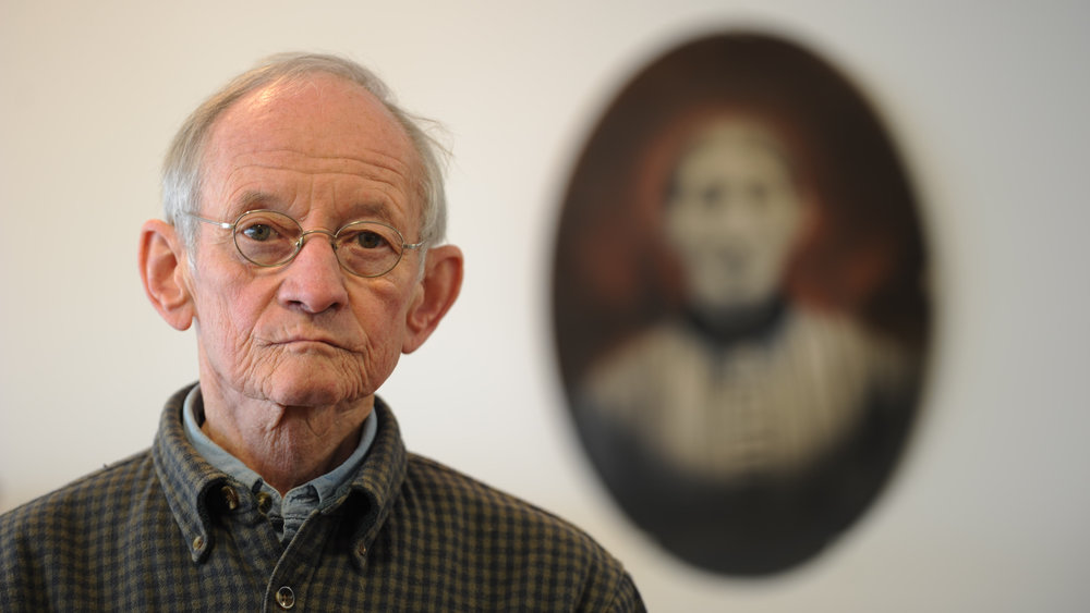 "Former Poet Laureate of the United States, Ted Kooser, at his shop, ""Poetry: Made and Repaired,"" in Dwight, NE.