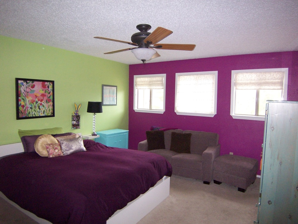 Purple And Green Bedroom Paint Color Scheme
