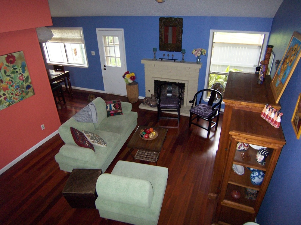 Coral And Blue Living Room Paint Color Scheme