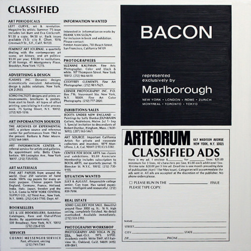 Classified, Artforum
