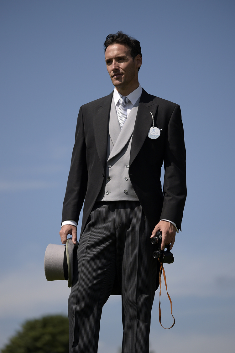 Hire Package from £99.00 Includes Black or Grey herringbone Tailcoat, Stripe trousers, Waistcoat, Shirt, Tie & Top Hat.