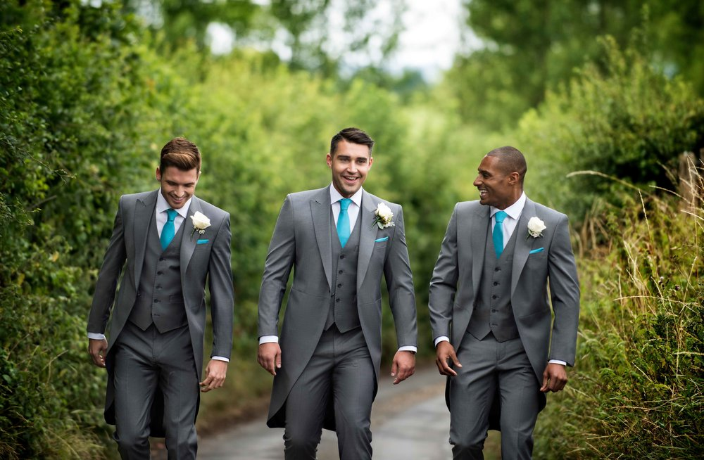 Mid-Grey slimfit Tails or Lounge suit. Hire package from £140.    Hire package includes Jacket, Trousers, waistcoat, shirt, neckwear, handkerchief & accidental insurance.