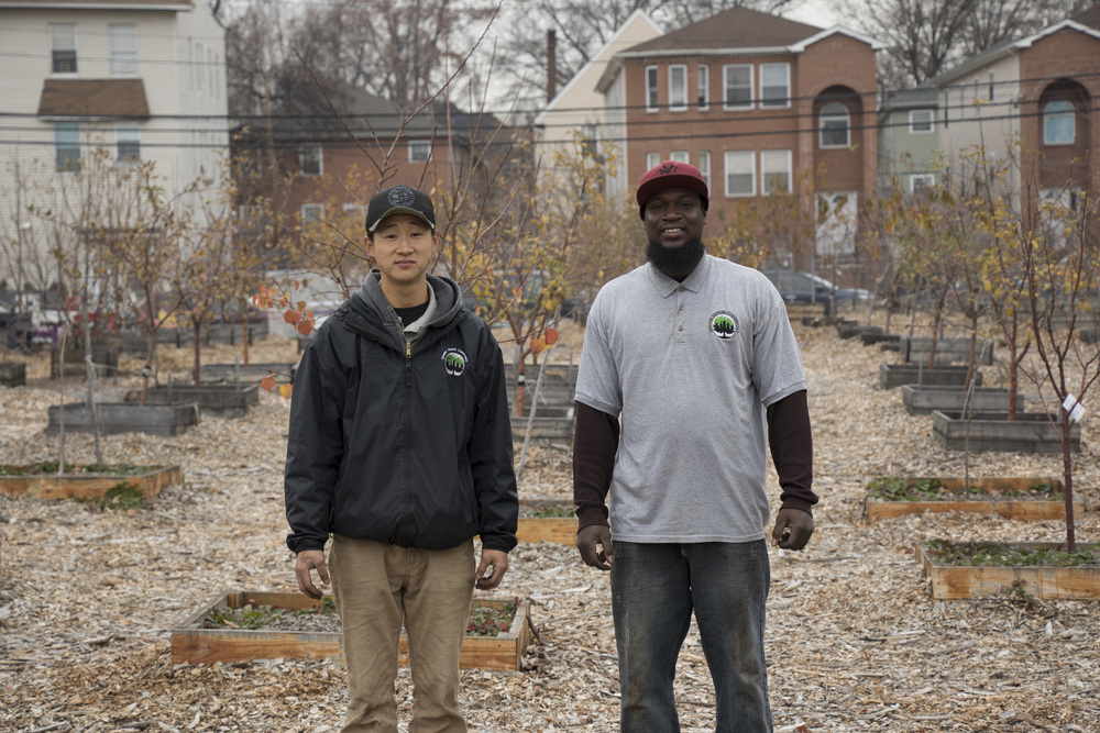 Jacob Kim and Rasudi Creighton, of the Greater Newark Conservancy, are urban farmers who planted dozens of trees.