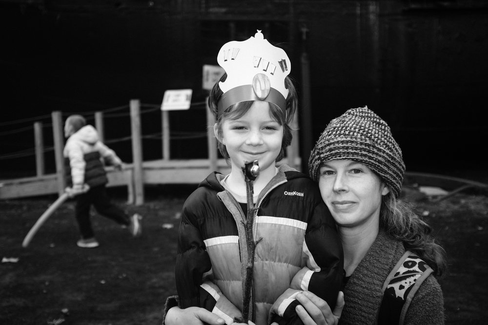 Woman and her son with his power stick, Rondout, Kingston, NY.