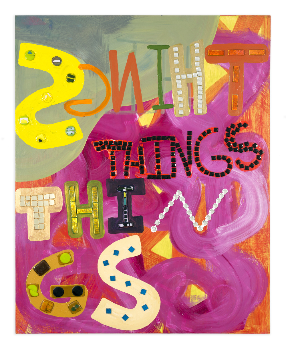 Things,  2014, Acrylic glass tile, dichroic glass, fused glass on wood, 60 x 48 in