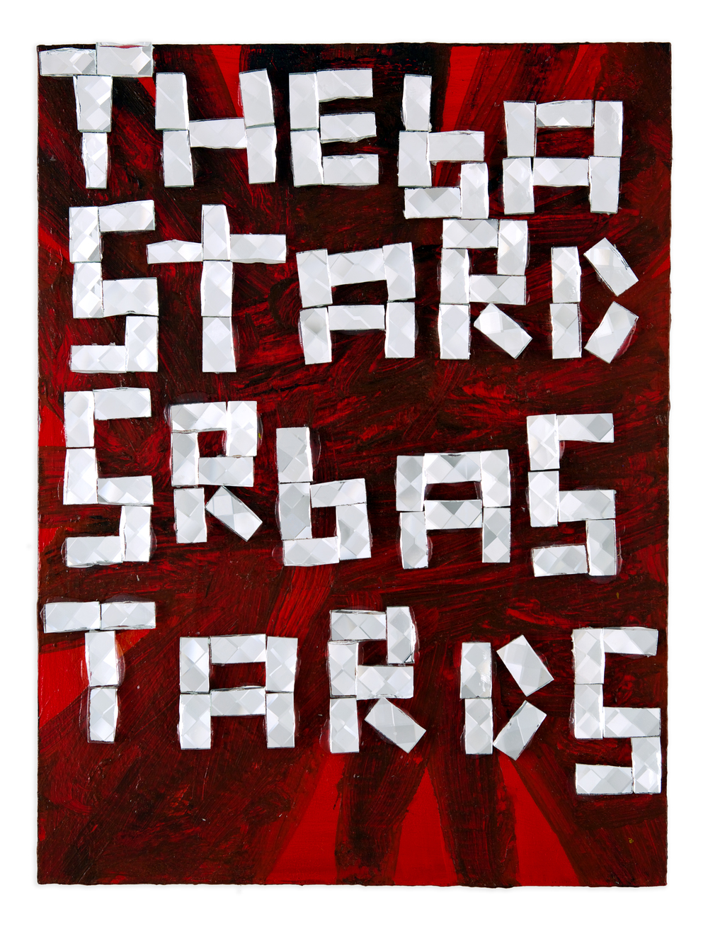 Bastards , 2014, acrylic and glass tile on wood, 12 x 9 in