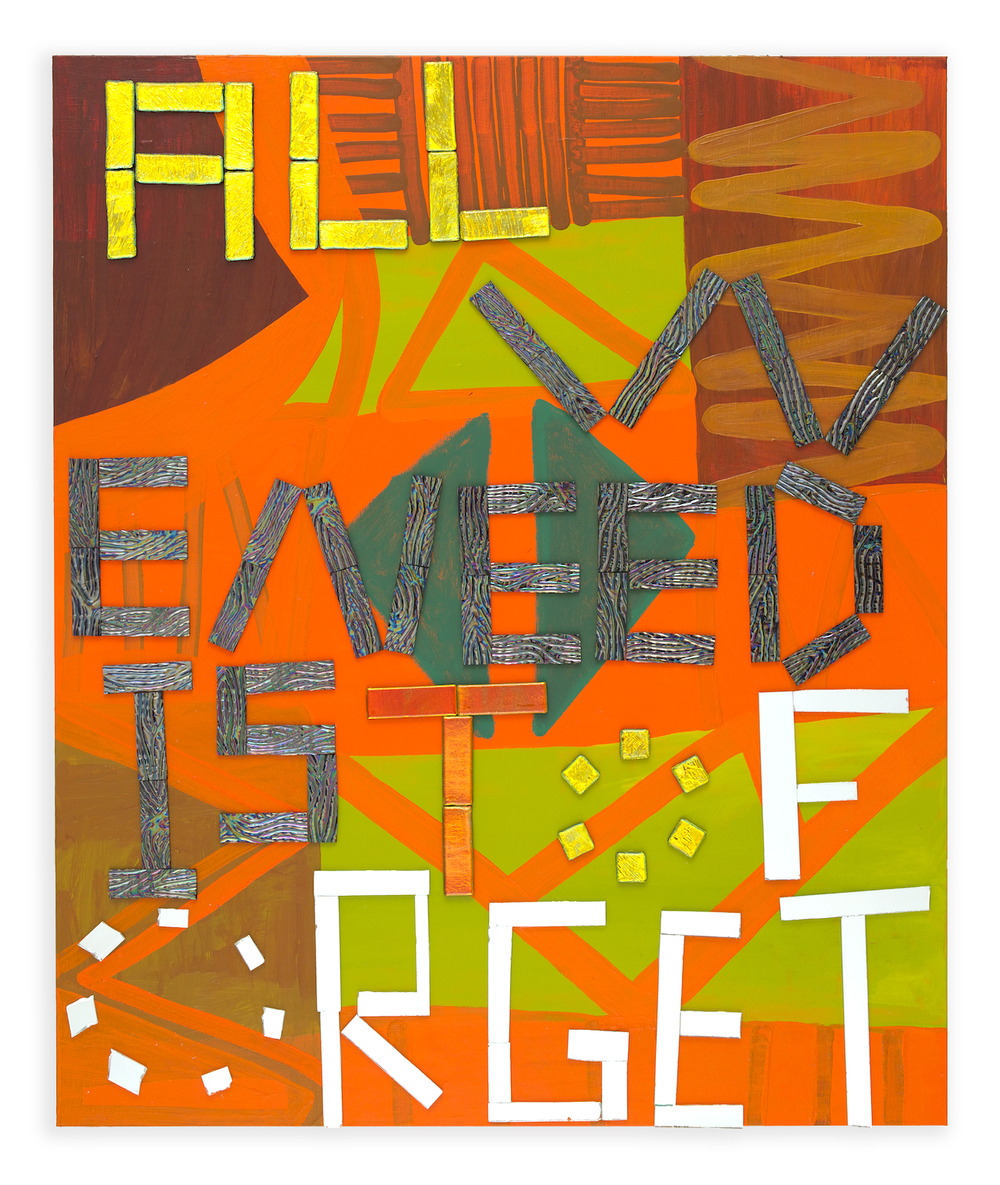 Forget , 2014, acrylic, mirror, dichroic glass, and glass tile, 40 x 36 in